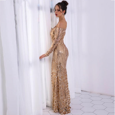 High Shine Gold Long Sleeve Bardot Maxi Dress - Fashion Genie Boutique