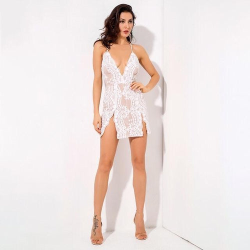 Hella Stella White Sequin Double Split Mini Dress - Fashion Genie Boutique