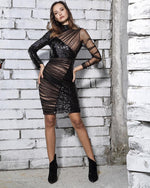 Italian Vibes Black Sequin Mesh Long Sleeve Mini Dress - Fashion Genie Boutique
