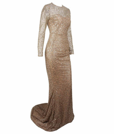Allure Gold Glitter Embellished Long Sleeve Fishtail Maxi Dress - Fashion Genie Boutique