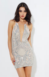 Animal Instinct Silver Snake Print Sequin Mini Dress - Fashion Genie Boutique USA Alt