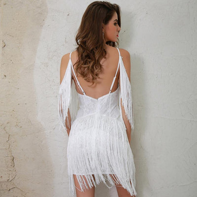 Doll Face White Fringed Mini Party Dress - Fashion Genie Boutique