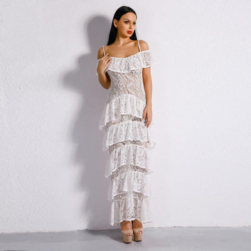 Lacey Days White Lace Ruffle Detail Maxi Dress - Fashion Genie Boutique