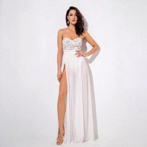 Phi Phi White Strapless Sequin Floaty Maxi Dress - Fashion Genie Boutique USA Alt