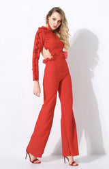 Vogueing Red Frill Sleeve Jumpsuit - Fashion Genie Boutique