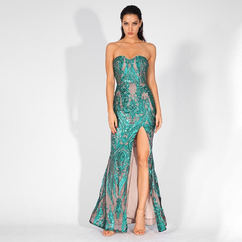 Sweet Vision Green Strapless Sequin Spilt Maxi Gown Dress - Fashion Genie Boutique