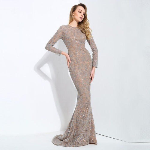 Allure Silver Glitter Embellished Long Sleeve Fishtail Maxi Dress - Fashion Genie Boutique