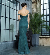 Little Treasure Green Bardot Glitter Fishtail Maxi Gown Dress - Fashion Genie Boutique