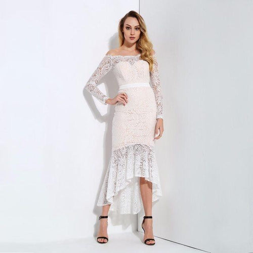 Vibe Seeker White Lace Bardot Midi Dress - Fashion Genie Boutique