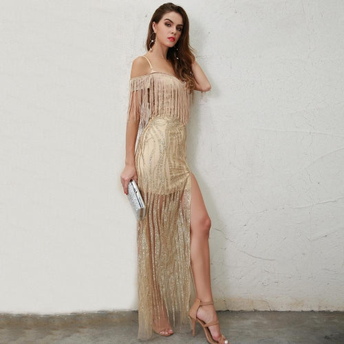 Dare Me Gold Sheer Fringe Sequin Maxi Dress - Fashion Genie Boutique