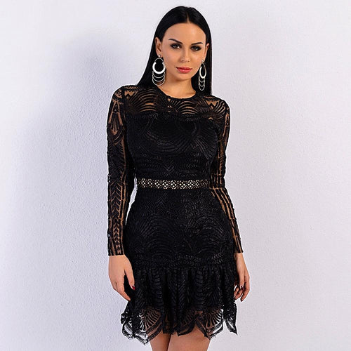 Jinx Black Crochet Long Sleeve Mini Dress - Fashion Genie Boutique
