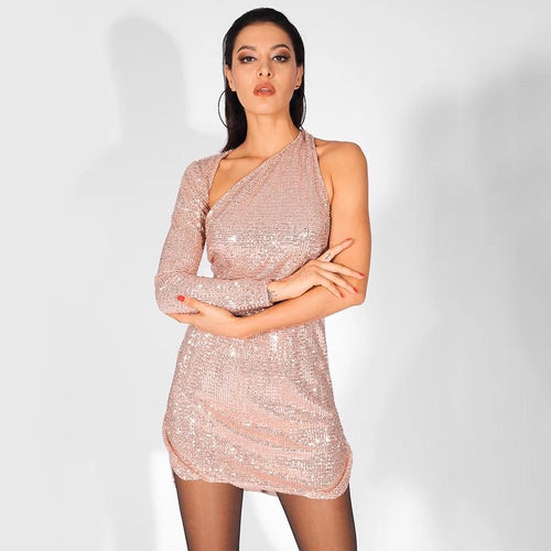 Hollywood Halo Rose Gold Sequin One Shoulder Dress