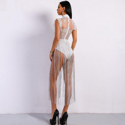 Gamble On Me White Mesh Sequin Fringe Bodysuit - Fashion Genie Boutique