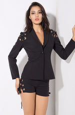 Tun Up Black Lace Up Shorts and Blazer Co-Ord - Fashion Genie Boutique USA Alt