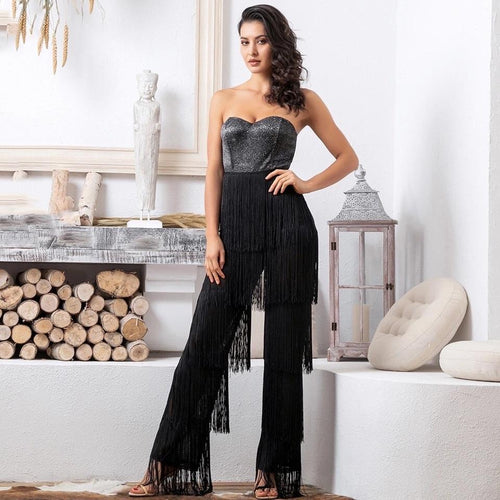 Queen of Sheen Black Strapless Fringe Jumpsuit