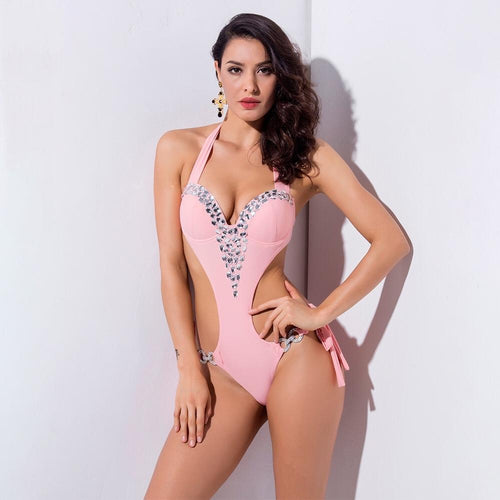 Kylie Pink Crystal Embellished Monokini Padded Swimsuit - Fashion Genie Boutique