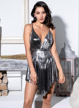 Kill The Lights Silver Plunge Pleated Romper