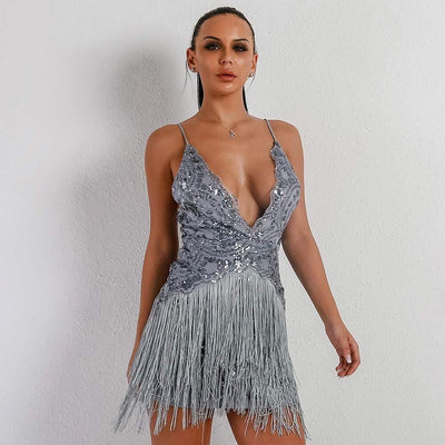 Glam Night Lavender Sequin Fringe Mini Party Dress - Fashion Genie Boutique