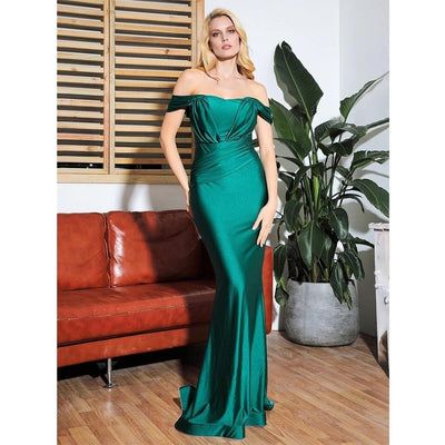 She's Flawless Green Bardot Fishtail Maxi Dress