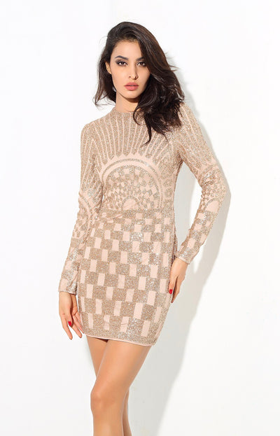 Gatsby Gold Glitter Embellished Long Sleeve Mini Dress - Fashion Genie Boutique USA Alt