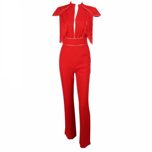 So Extra Red Fringe Shoulder Jumpsuit - Fashion Genie Boutique