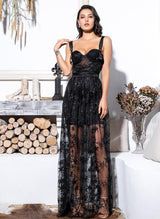 Razzle Baby Black Mesh Maxi Dress
