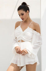 Say My Name White Cut Out Tie Front Playsuit - Fashion Genie Boutique