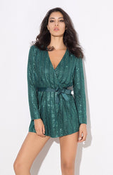 Sally Green Stripe Sequin Playsuit - Fashion Genie Boutique