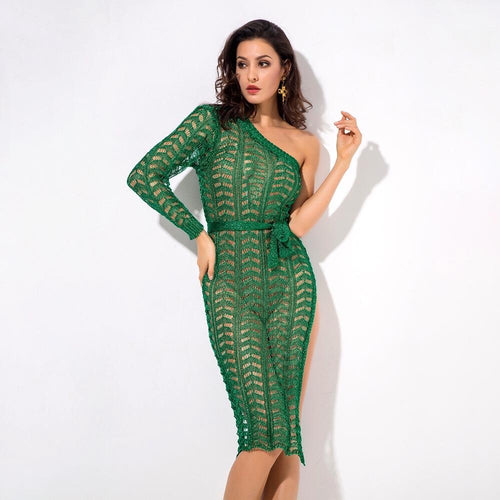 Ready To Glow Green Glitter Knit Kaftan Dress - Fashion Genie Boutique