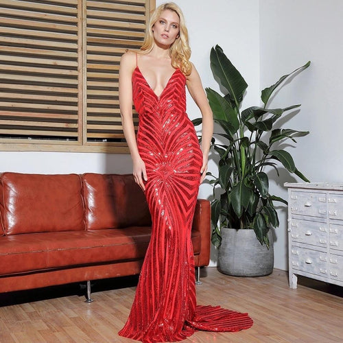 Ecstasy Red Plunge Sequin Maxi Fishtail Gown Dress - Fashion Genie Boutique
