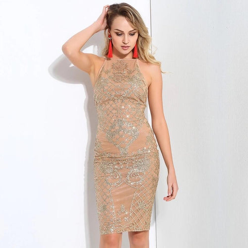 Promiscuous Gold Glitter Embellished Mini Dress - Fashion Genie Boutique