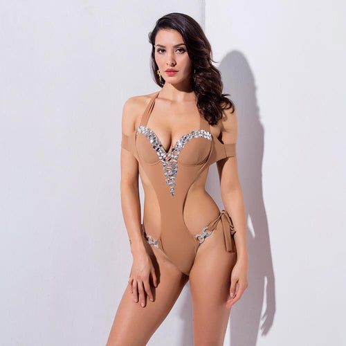 Kylie Nude Crystal Embellished Monokini Padded Swimsuit - Fashion Genie Boutique