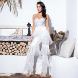 Queen of Sheen White Strapless Fringe Jumpsuit