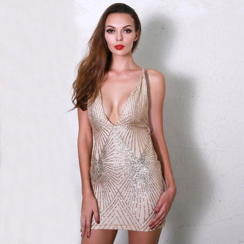 Cosmic Cutie Nude & Gold Glitter Plunge Mini Dress - Fashion Genie Boutique USA Alt