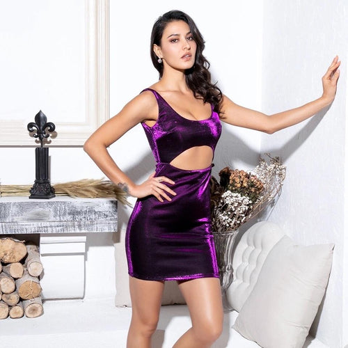 Hey Shorty Purple Cut Out Reflective Mini Dress