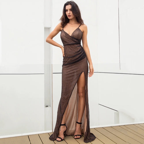 Glow On Fleek Black Glitter High Split Maxi Gown Dress - Fashion Genie Boutique