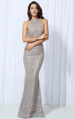 Devotion Silver Sequin Maxi Dress - Fashion Genie Boutique USA Alt