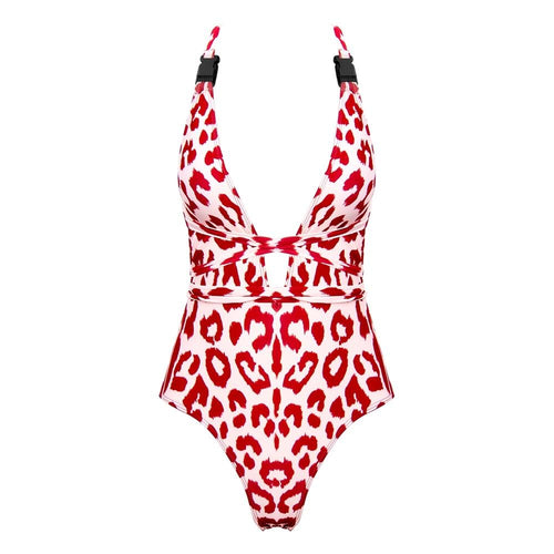 Wonderland Red Cheetah Print Swimsuit - Fashion Genie Boutique