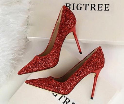 Till the Glitter Ends Red High Heels - Fashion Genie Boutique USA Alt
