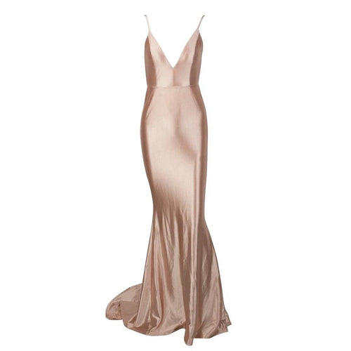 In Your Dreams Nude Maxi Satin Gown Dress - Fashion Genie Boutique