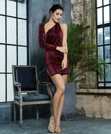 Hollywood Halo Burgundy Sequin One Shoulder Dress