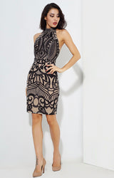 Meilani Black & Nude Sequin Halter Neck Mini Dress - Fashion Genie Boutique USA Alt
