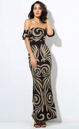 Senorita Black & Gold Glitter Bardot Maxi - Fashion Genie Boutique USA Alt