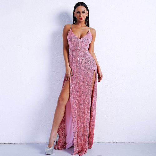 Dazzling Dime Pink Sequin Double Split Maxi Party Gown Dress - Fashion Genie Boutique