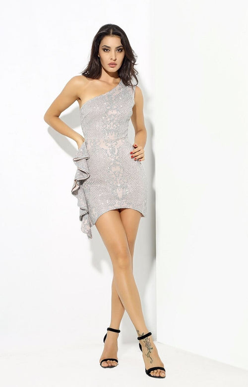 034d6c68 Sweeter Than Sugar Silver Glitter Embellished Frill Mini Dress - Fashion  Genie Boutique