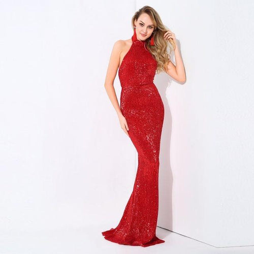 Spotlight Statement Red Sequin Fishtail Maxi Dress - Fashion Genie Boutique