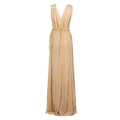 Grecian Goddess Nude Belted Maxi Split Dress