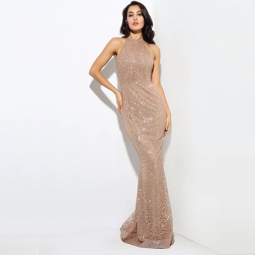 Upon A Dream Gold Glitter Embellished  Maxi Dress - Fashion Genie Boutique USA Alt