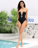 Catalina Black Strapless Plunge Crystal Swimsuit - Fashion Genie Boutique
