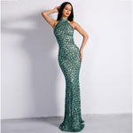 Effervescent Green Glitter Embellished Maxi Dress - Fashion Genie Boutique USA Alt
